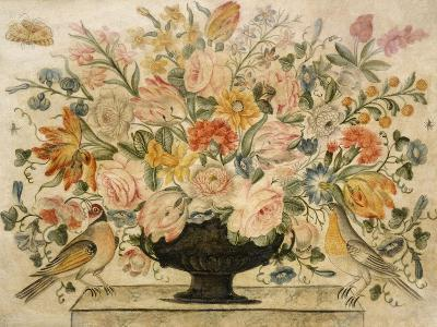 An Urn Containing Flowers on a Ledge with Two Birds, 1600-Octavianus Montfort-Giclee Print