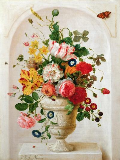 An Urn of Flowers in an Alcove-Jan Frans Josephus Mertens-Giclee Print