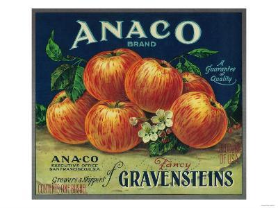 Anaco Apple Crate Label - San Francisco, CA-Lantern Press-Art Print