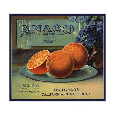 Anaco Brand - California - Citrus Crate Label-Lantern Press-Art Print