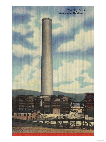 "Anaconda, Montana - Washoe Smelter View of the ""Big Stack""-Lantern Press-Art Print"