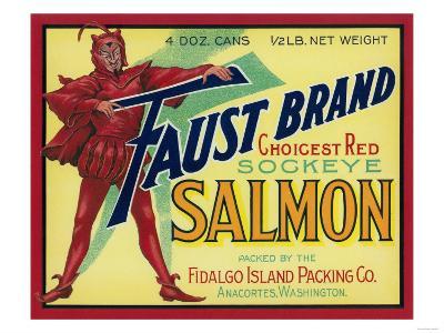 Anacortes, Washington - Faust Salmon Case Label-Lantern Press-Art Print