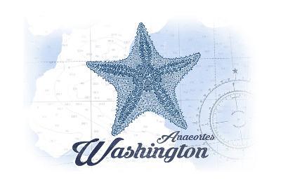Anacortes, Washington - Starfish - Blue - Coastal Icon-Lantern Press-Art Print