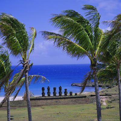 Anakena Beach with Ahu Nau Nau, Easter Island, Chile, Pacific-Geoff Renner-Photographic Print