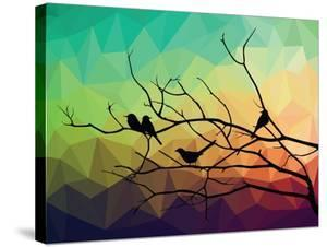 Animal of Wildlife ( Bird on Tree Branch and Low Poly Vector Background) by ananaline