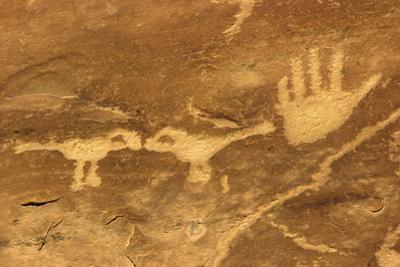 Anasazi/Ancient Puebloan Petroglyphs of the Parrot Clan Symbol, Mesa Verde National Park, Colorado