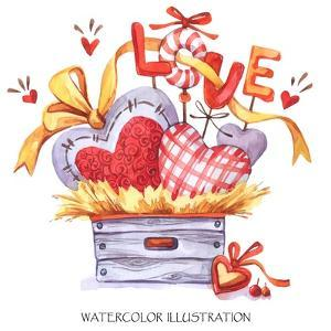 Lovely Hand Drawn Illustration. Watercolor Valentines Day Card. Wooden Box with Textile Hearts in T by Anastezia Luneva