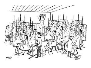 Art class painting nude woman. Each student paints exact same abstract int? - New Yorker Cartoon by Anatol Kovarsky