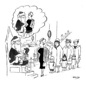 Santa Claus in department store holding little kid on his lap has mental i? - New Yorker Cartoon by Anatol Kovarsky