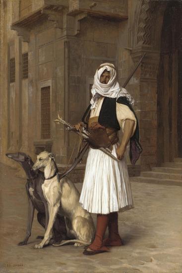 Anaute Avec Deux Chiens Whippets, 1867-Jean Leon Gerome-Giclee Print