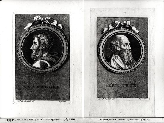 Anaxagorus (500-428 BC) and Epictetus (1st Century) Engraved by S. Beyssent-Claude Reydellet-Giclee Print