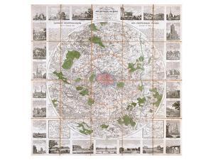 Carte Routière de Paris 1839 by Anchin