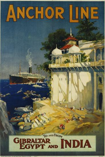 Anchor Line Travel Poster-W. Welsh-Giclee Print