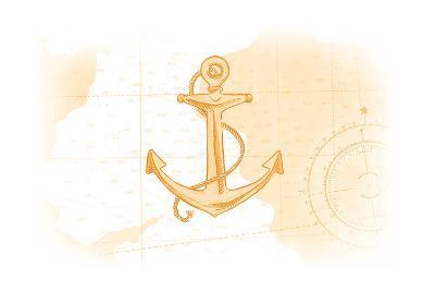 Anchor - Yellow - Coastal Icon-Lantern Press-Art Print