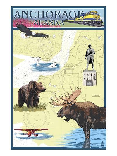 Anchorage, Alaska - Nautical Chart-Lantern Press-Art Print