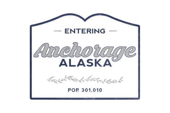 Anchorage, Alaska - Now Entering (Blue)-Lantern Press-Art Print