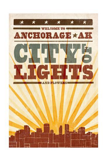 Anchorage, Alaska - Skyline and Sunburst Screenprint Style-Lantern Press-Art Print