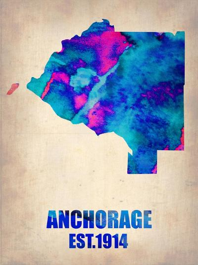 Anchorage Watercolor Map-NaxArt-Art Print
