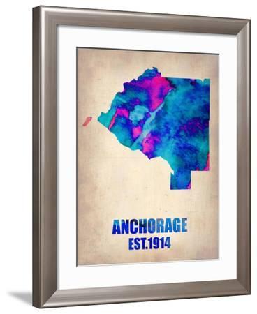 Anchorage Watercolor Map-NaxArt-Framed Art Print