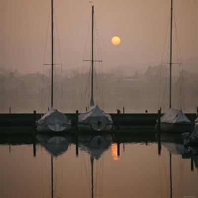 Anchored Sailboats at Sunrise in Mythen Quai Harbor-David Pluth-Photographic Print