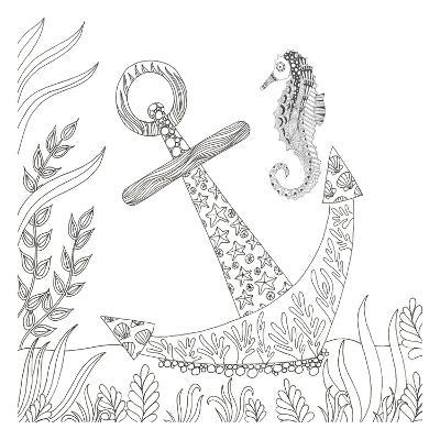 Anchored Seahorse-Pam Varacek-Art Print