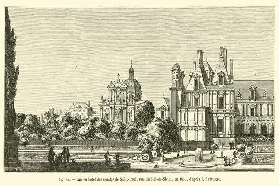 Ancien Hotel Des Comtes De Saint-Paul, Rue Du Roi-De-Sicile, En 1650; D'Apres I Sylvestre--Giclee Print