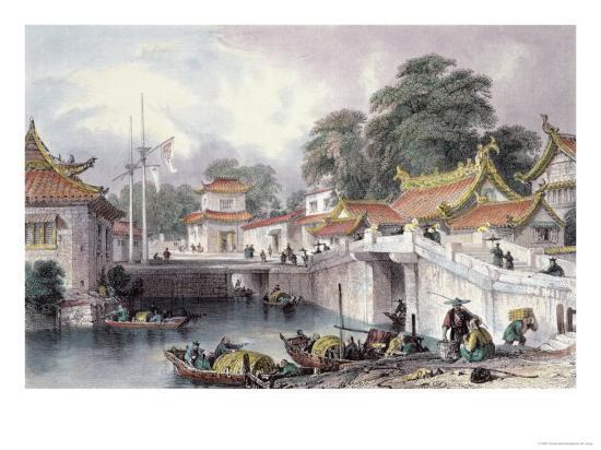 Ancient Bridge over the River at Chapro, c.1850-Thomas Allom-Giclee Print