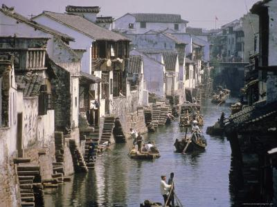 Ancient Canal in the City, Part of the Great Canal, the Longest in China, Soochow (Suzhou), China-Ursula Gahwiler-Photographic Print