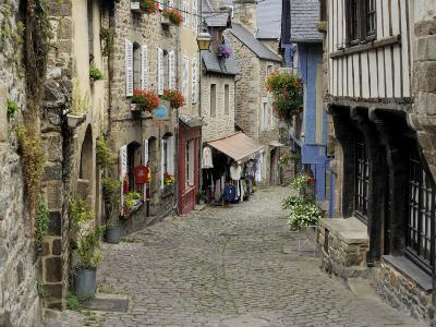Ancient Cobbled Street and Houses, Rue Du Petit Fort, Dinan, Cotes-D'Armor, Brittany-Peter Richardson-Photographic Print