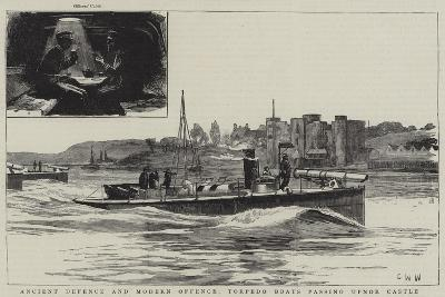 Ancient Defence and Modern Offence, Torpedo Boats Passing Upnor Castle-Charles William Wyllie-Giclee Print