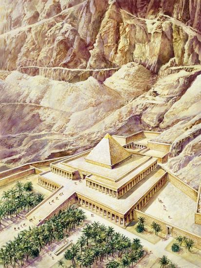 Ancient Egypt, Thebes, Deir El-Bahri, Reconstructed Temple of Hatshepsut--Giclee Print