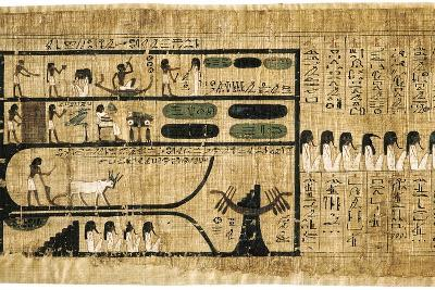 Ancient Egyptian Book of the Dead on Papyrus Showing Written Hieroglyphs--Giclee Print