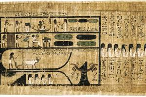 Ancient Egyptian Book of the Dead on Papyrus Showing Written Hieroglyphs