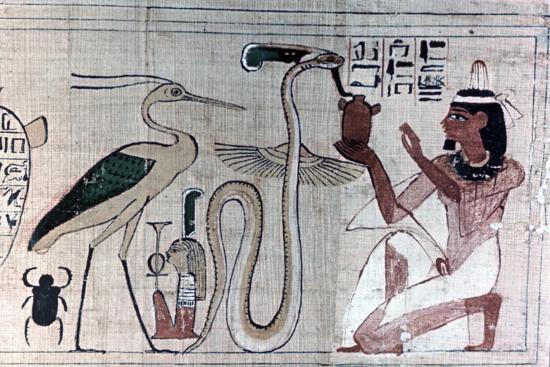 Ancient Egyptian papyrus of death kneeling before a snake. Artist: Unknown-Unknown-Giclee Print