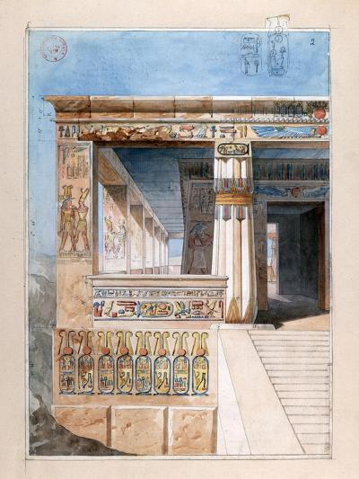 Ancient Egyptian Temple, 19th Century-Nestor l'Hote-Giclee Print