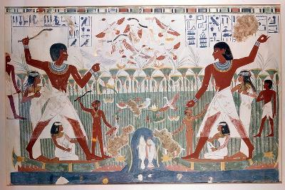 Ancient Egyptians Hunting Wildfowl with Throwing Sticks--Giclee Print