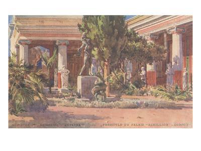 Ancient Greek Courtyard on CorfuArt--Art Print