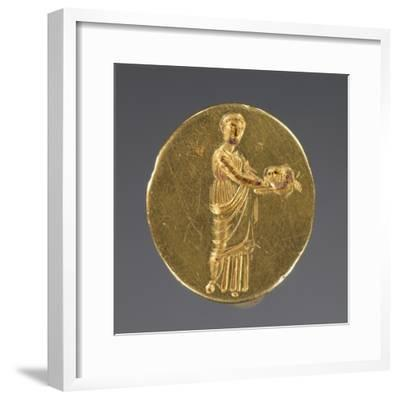 Ancient Greek Gold Ring Engraved with a Muse Holding a Theatrical Mask--Framed Photographic Print