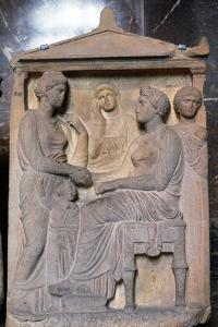 Ancient Greek Relief Showing Friends Greeting Each Other