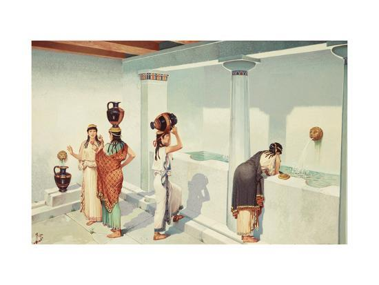 Ancient Greek Women Fill Jars with Water at a Town's Fountain House-H.M. Herget-Giclee Print