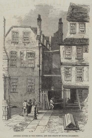 Ancient Houses in the Temple, and the Grave of Oliver Goldsmith--Giclee Print
