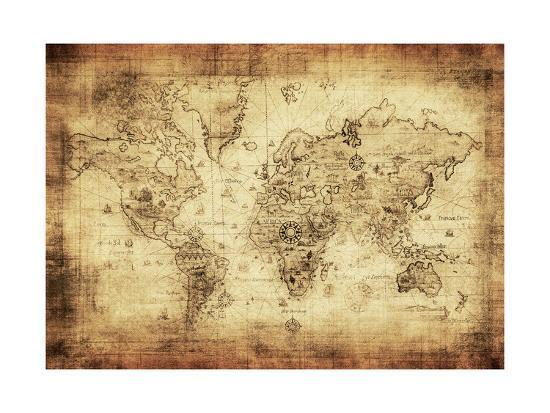 Ancient Map Of The World Art Print by javarman | Art.com