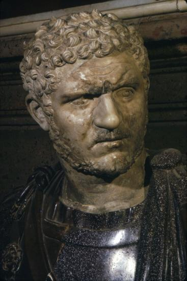 Ancient marble bust of Emperor Caracalla, 212-217-Unknown-Giclee Print