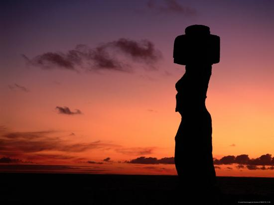 Ancient Moai at Ahu Ko Te Riku at Sunset, Easter Island, Valparaiso, Chile-Jan Stromme-Photographic Print