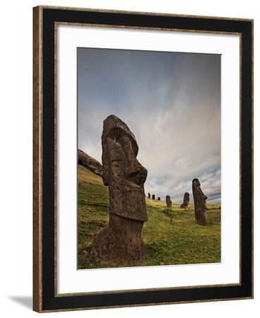 Ancient Moai Statues Dot a Hillside on Rano Raraku Crater-Randy Olson-Framed Photographic Print