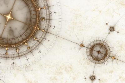 Ancient Nautical Chart, Grunge-Artida-Photographic Print