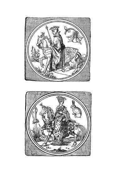 Ancient Playing Cards: King and Queen--Giclee Print