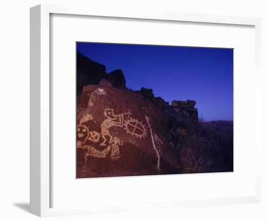 Ancient Rock Art Showing Kokopelli, the Flute Player, and a Shield-Ira Block-Framed Photographic Print
