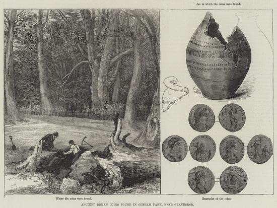 Ancient Roman Coins Found in Cobham Park, Near Gravesend--Giclee Print