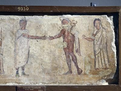 Ancient Roman Fresco Representing Funeral Procession: with Hermes Paying Caronte--Giclee Print